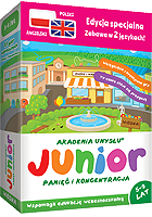 Gry edukacyjne JUNIOR w wersji dwujęzycznej to udane prezenty dla dzieci w wieku 5-9 lat; dużo uciechy, łatwe zapamiętywanie i dobra koncentracja uwagi oraz nauka angielskiego